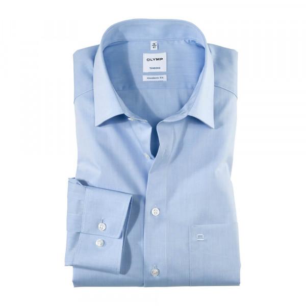 OLYMP Tendenz modern fit Hemd CHAMBRAY hellblau mit New Kent Kragen in moderner Schnittform