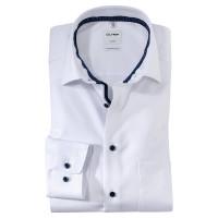 OLYMP Luxor comfort fit Hemd STRUKTUR weiss mit Global Kent Kragen in klassischer Schnittform