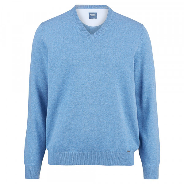 OLYMP Strick modern fit Pullover hellblau in moderner Schnittform