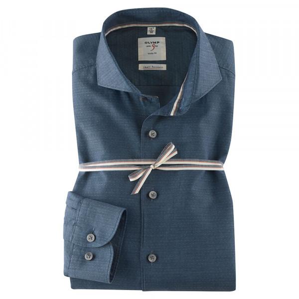 OLYMP Level Five Smart Business body fit Hemd UNI POPELINE dunkelblau mit Hai Kragen in schmaler Schnittform