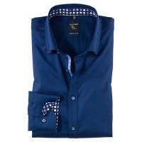 OLYMP No. Six super slim Hemd STRUKTUR dunkelblau mit Under Button Down Kragen in super schmaler Schnittform