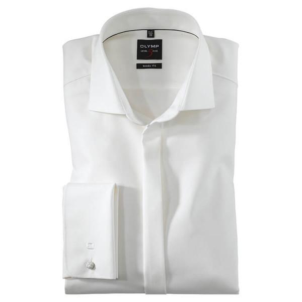 OLYMP Level Five soirée body fit Hemd FAUX UNI beige mit Royal Kent Kragen in schmaler Schnittform
