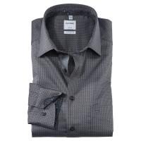 OLYMP Luxor comfort fit Hemd STRUKTUR anthrazit mit New Kent Kragen in klassischer Schnittform