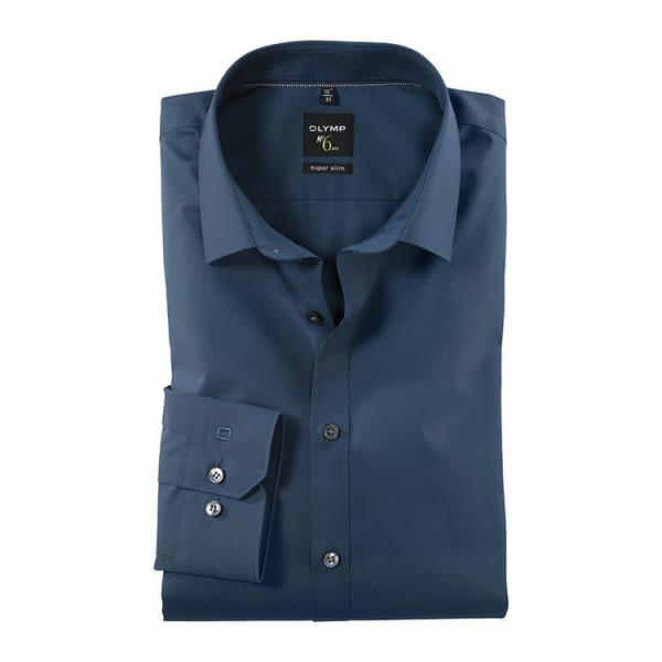 OLYMP No. Six super slim Hemd UNI POPELINE blau mit Urban Kent Kragen in super schmaler Schnittform