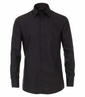 Venti Hemd MODERN FIT UNI POPELINE schwarz mit Kent Kragen in moderner Schnittform