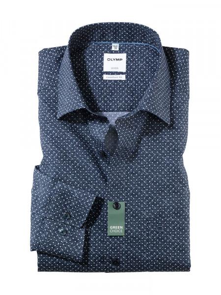 Olymp Hemd COMFORT FIT UNI POPELINE dunkelblau mit New Kent Kragen in klassischer Schnittform