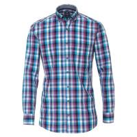 Redmond COMFORT FIT Hemd PRINT mittelblau mit Button Down Kragen in klassischer Schnittform