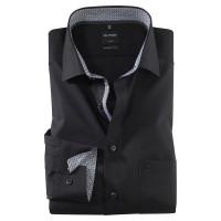 OLYMP Luxor modern fit Hemd UNI POPELINE schwarz mit Global Kent Kragen in moderner Schnittform