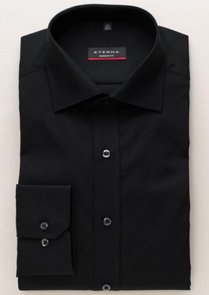 Eterna Hemd MODERN FIT UNI POPELINE schwarz mit Classic Kent Kragen in klassischer Schnittform