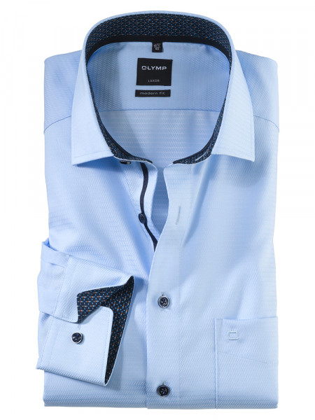 Olymp Hemd MODERN FIT STRUKTUR hellblau mit Global Kent Kragen in moderner Schnittform