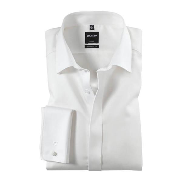 OLYMP Luxor soirée modern fit Hemd FAUX UNI beige mit New Kent Kragen in moderner Schnittform