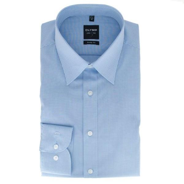 OLYMP Level Five body fit Hemd OFFICE hellblau mit New York Kent Kragen in schmaler Schnittform