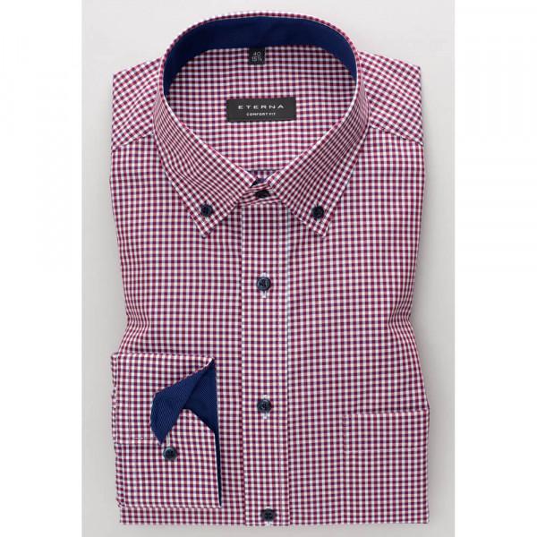 Eterna Hemd COMFORT FIT TWILL KARO dunkelrot mit Button Down Kragen in klassischer Schnittform