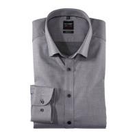 OLYMP Level Five body fit Hemd TWILL schwarz mit Under Button Down Kragen in schmaler Schnittform