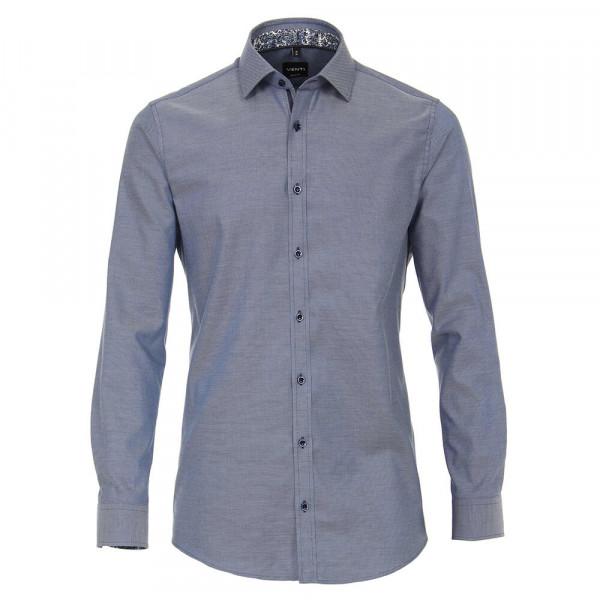 Venti Hemd BODY FIT STRUKTUR dunkelblau mit Kent Kragen in schmaler Schnittform