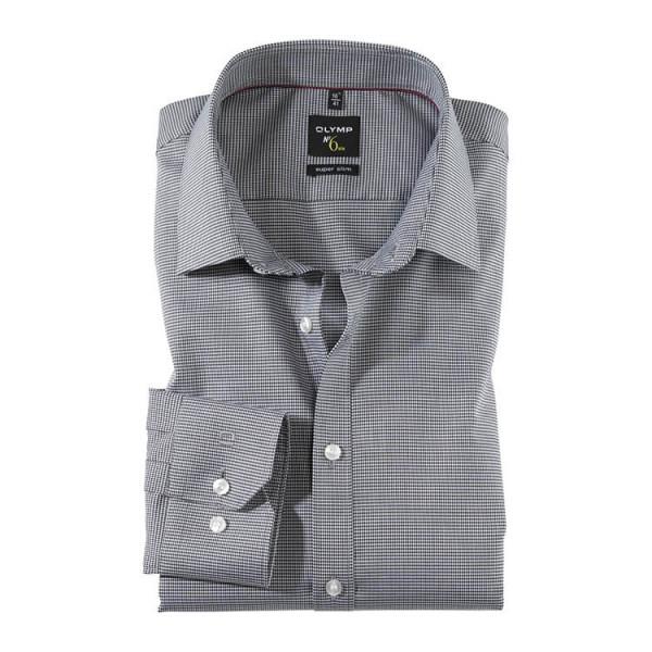 OLYMP No. Six super slim Hemd FAUX UNI schwarz mit Urban Kent Kragen in super schmaler Schnittform