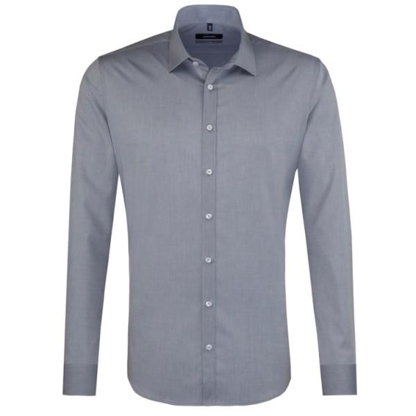 Seidensticker X-SLIM Hemd CHAMBRAY grau mit Business Kent Kragen in super schmaler Schnittform