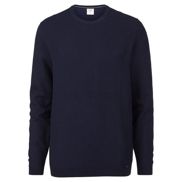 OLYMP Level Five Strick Pullover dunkelblau in schmaler Schnittform