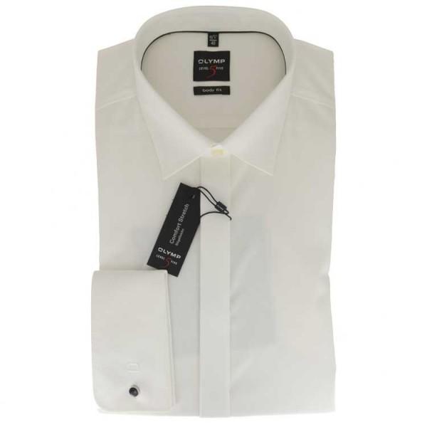 OLYMP Level Five soirée body fit Hemd UNI POPELINE beige mit New York Kent Kragen in schmaler Schnittform