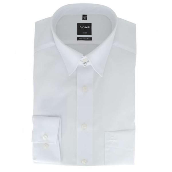 OLYMP Luxor modern fit Hemd UNI POPELINE weiss mit Tab Kragen in moderner Schnittform