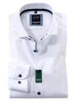 Olymp Hemd LEVEL 5 TWILL weiss mit Royal Kent Kragen in schmaler Schnittform