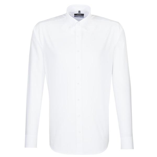 Seidensticker Hemd SHAPED FEIN OXFORD weiss mit Button Down Kragen in moderner Schnittform