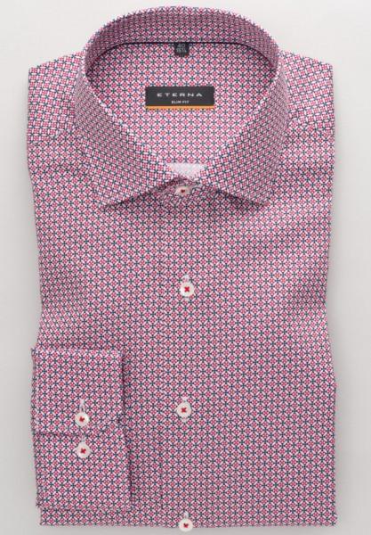 Eterna Hemd SLIM FIT PRINT rot mit Classic Kent Kragen in schmaler Schnittform