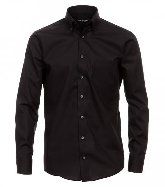 """CASAMODA Hemd """"Popeline"""" schwarz mit Button-Down Kragen in moderner Schnittform"""