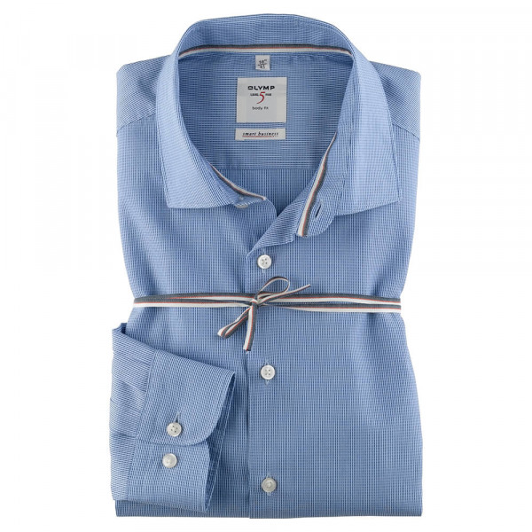 OLYMP Level Five Smart Business body fit Hemd UNI POPELINE hellblau mit Kent Kragen in schmaler Schnittform