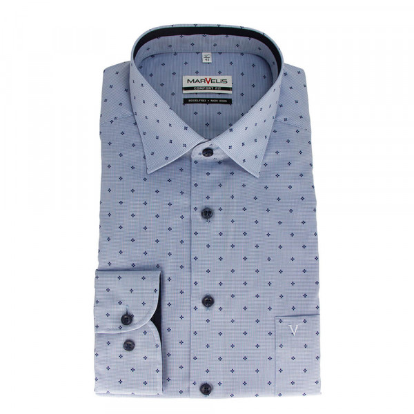 Marvelis COMFORT FIT Hemd PRINT hellblau mit New Kent Kragen in klassischer Schnittform