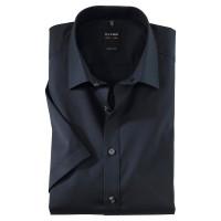 OLYMP Level Five body fit Hemd UNI POPELINE dunkelblau mit New York Kent Kragen in schmaler Schnittform
