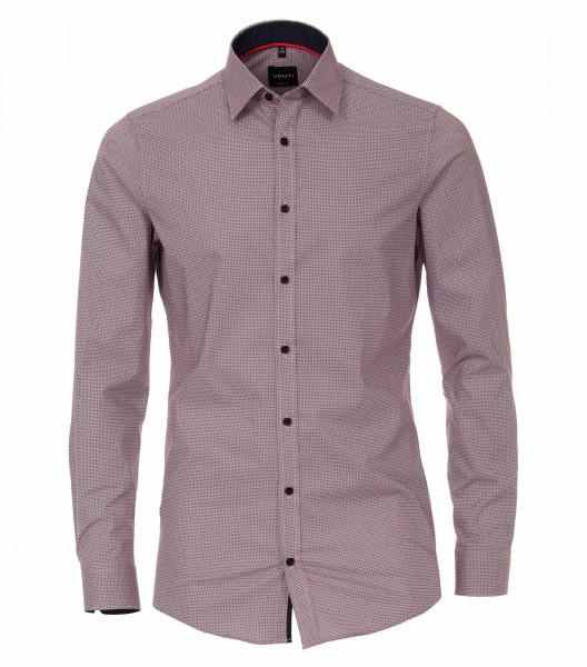 Venti Hemd BODY FIT PRINT rot mit Kent Kragen in schmaler Schnittform