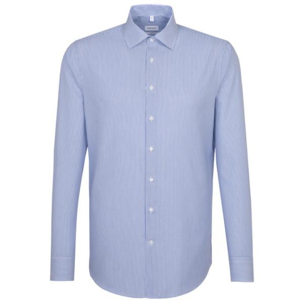 Seidensticker SHAPED Hemd OFFICE mittelblau mit Business Kent Kragen in moderner Schnittform