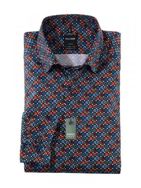 Olymp Hemd MODERN FIT UNI POPELINE dunkelblau mit Under Button Down Kragen in moderner Schnittform