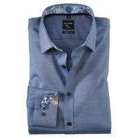 OLYMP No. Six super slim Hemd STRUKTUR dunkelblau mit Urban Kent Kragen in super schmaler Schnittform