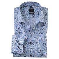 OLYMP Level Five body fit Hemd PRINT weiss mit Royal Kent Kragen in schmaler Schnittform