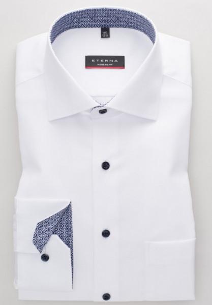 Eterna Hemd MODERN FIT STRUKTUR weiss mit Classic Kent Kragen in moderner Schnittform