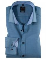 OLYMP Level Five body fit Hemd UNI POPELINE mittelblau mit Royal Kent Kragen in schmaler Schnittform