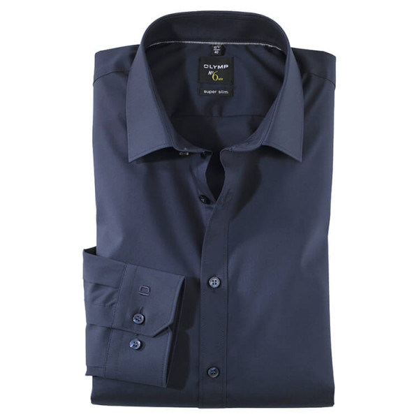 OLYMP No. Six super slim Hemd UNI POPELINE dunkelblau mit Urban Kent Kragen in super schmaler Schnittform