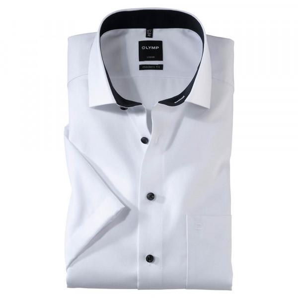 OLYMP Luxor modern fit Hemd FAUX UNI weiss mit Global Kent Kragen in moderner Schnittform