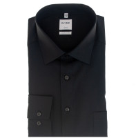 OLYMP Luxor comfort fit Hemd UNI POPELINE schwarz mit New Kent Kragen in klassischer Schnittform