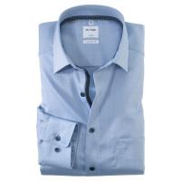 OLYMP Luxor comfort fit Hemd STRUKTUR hellblau mit Global Kent Kragen in klassischer Schnittform