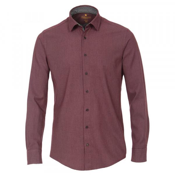 Redmond MODERN FIT Hemd STRUKTUR dunkelrot mit Kent Kragen in moderner Schnittform