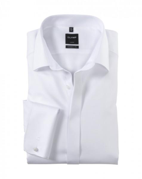 OLYMP Luxor soirée modern fit Hemd FAUX UNI weiss mit New Kent Kragen in moderner Schnittform