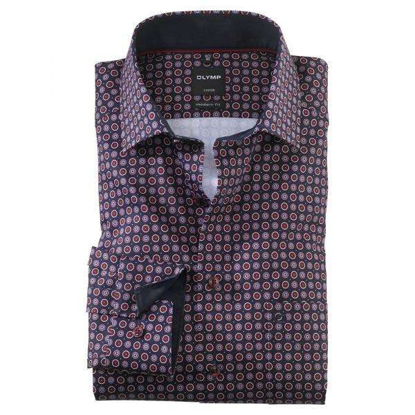 OLYMP Luxor modern fit Hemd PRINT dunkelrot mit Global Kent Kragen in moderner Schnittform