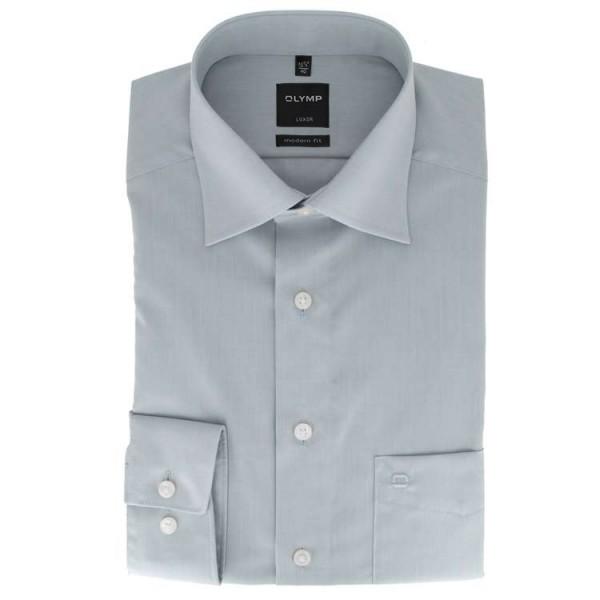 OLYMP Luxor modern fit Hemd CHAMBRAY grau mit New Kent Kragen in moderner Schnittform