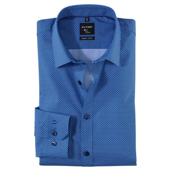 OLYMP No. Six super slim Hemd PRINT hellblau mit Urban Kent Kragen in super schmaler Schnittform