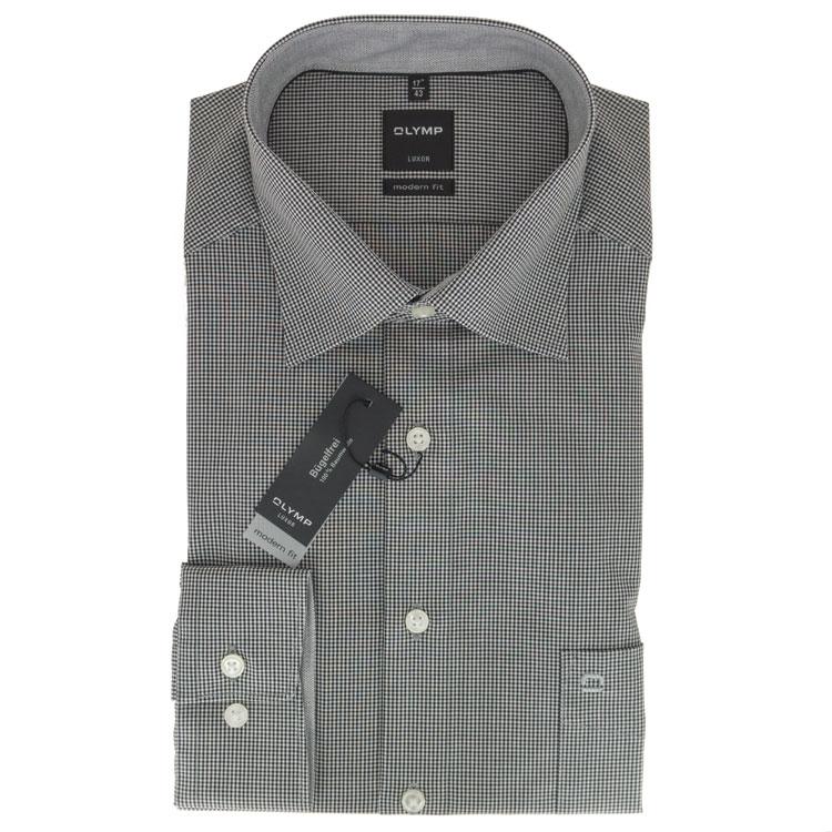 olymp luxor modern fit hemd schwarz kariert 339064 68. Black Bedroom Furniture Sets. Home Design Ideas