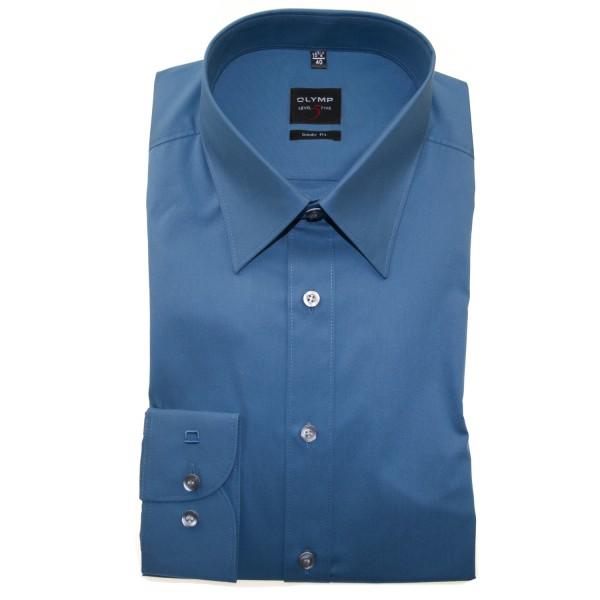 OLYMP Level Five body fit Hemd UNI POPELINE mittelblau mit New York Kent Kragen in schmaler Schnittform