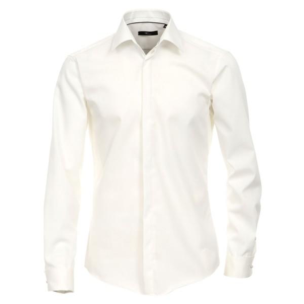 """Venti Hemd """"Popeline"""" beige mit Kent Kragen und verdeckter Knopfleiste in moderner Schnittform"""